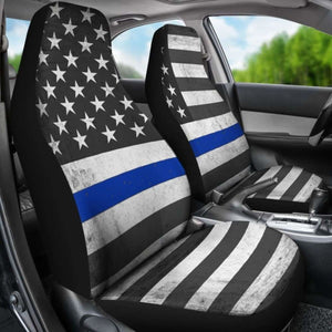 Usa Flag Thin Blue Line Car Seat Covers Universal Fit 051012 - CarInspirations