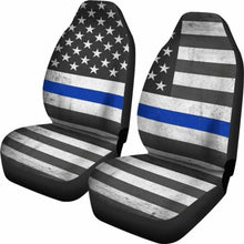 Load image into Gallery viewer, Usa Flag Thin Blue Line Car Seat Covers Universal Fit 051012 - CarInspirations