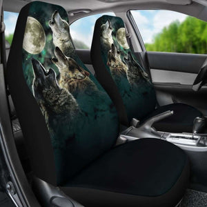 Wolf Howling Team Car Seat Covers Universal Fit 051012 - CarInspirations