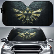 Load image into Gallery viewer, Zelda Logo in black theme car auto sunshades 918b Universal Fit - CarInspirations