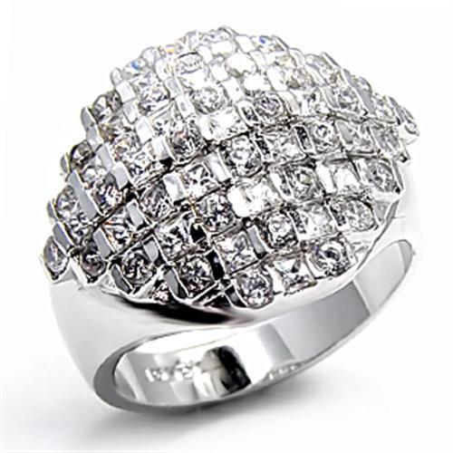 7X004 Rhodium Brass Ring with AAA Grade CZ in - Vanessa Stylez Boutique