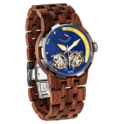 Men's Dual Wheel Automatic Kosso Wood Watch - Vanessa Stylez Boutique