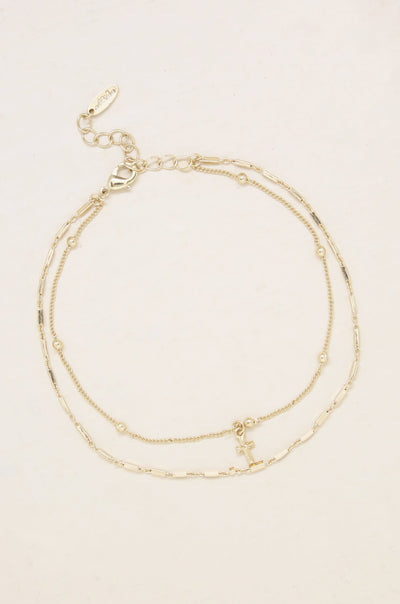 Delicate Cross Charm 18k Gold Plated Anklet - Vanessa Stylez Boutique