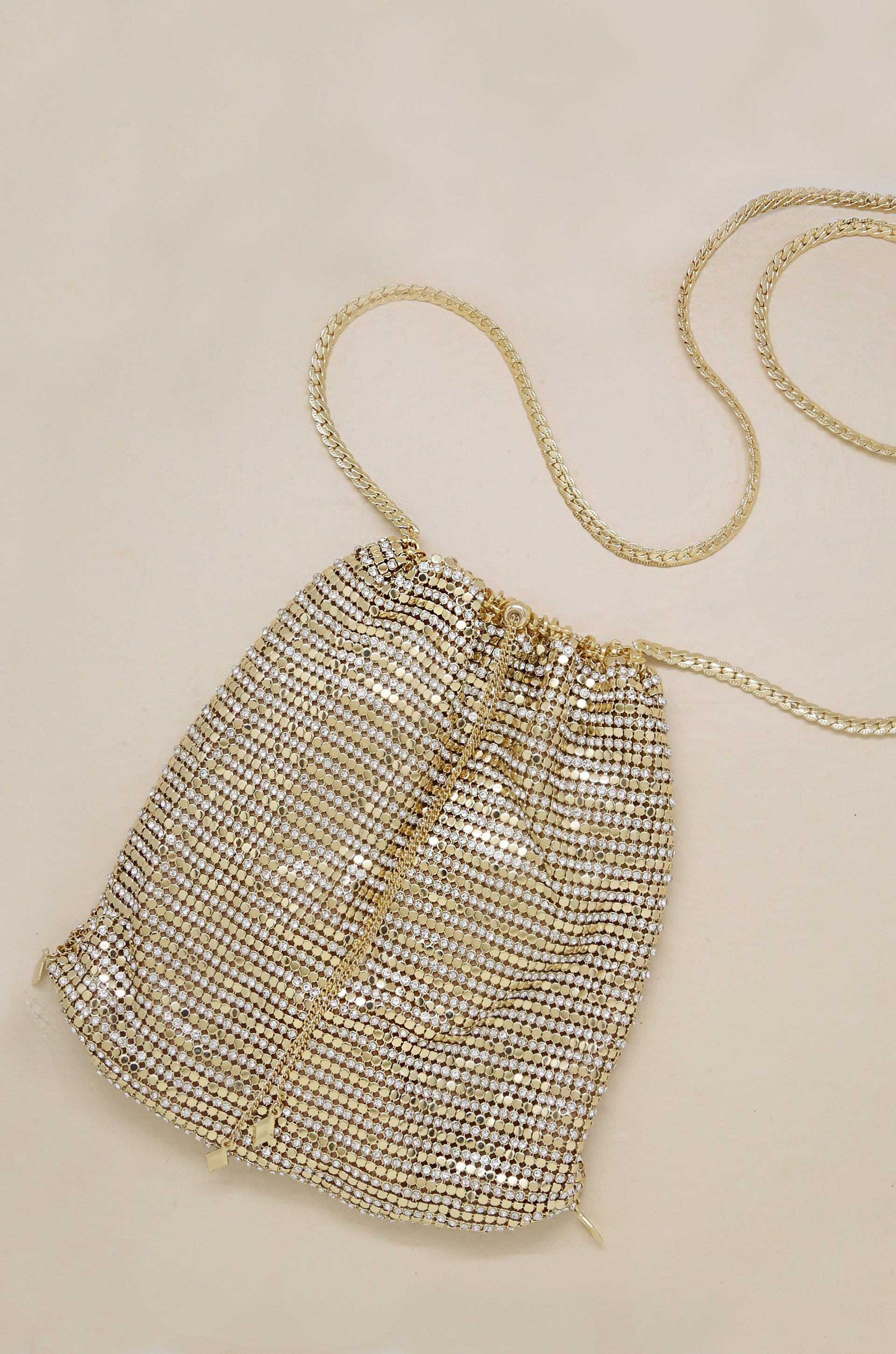 Gold Shimmer Pouch with Gold Shoulder Chain - Vanessa Stylez Boutique