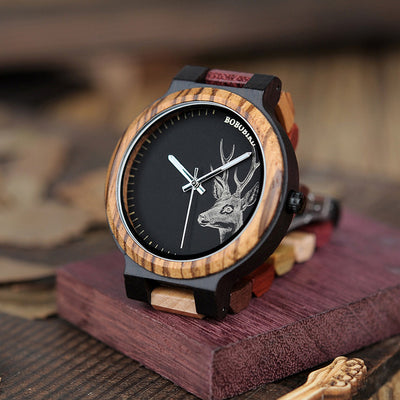 P14-2 Deer Collection Wood Watches Date - Vanessa Stylez Boutique