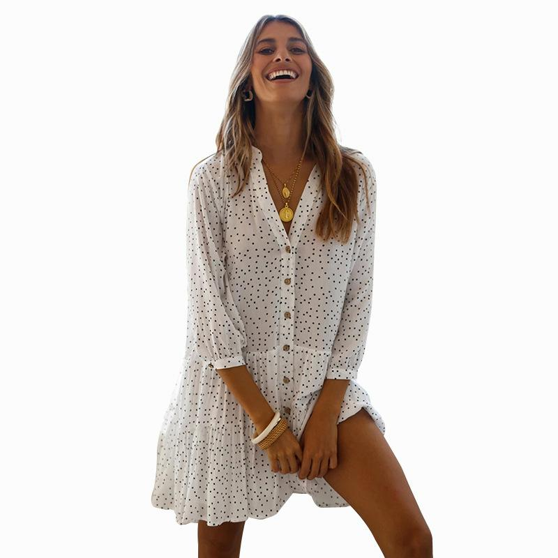 Bikini Cover-ups Causal Small Polka Dot Printed Summer Beach Dress