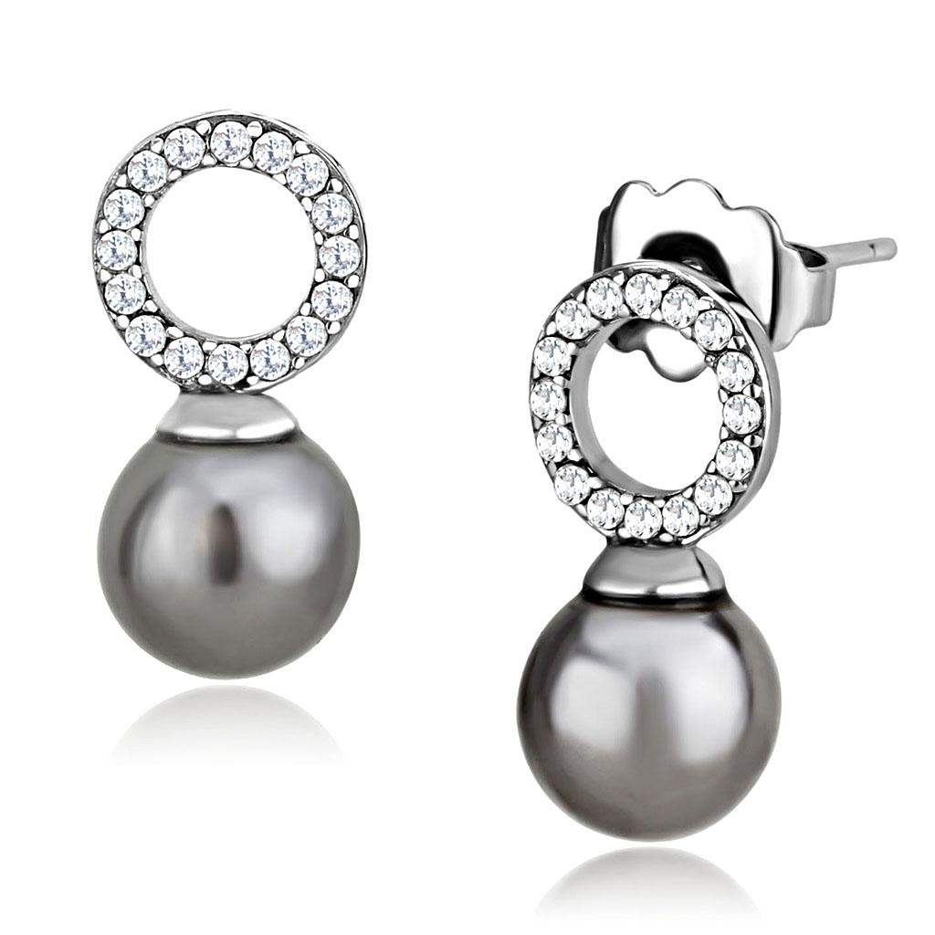Women Stainless Steel Synthetic Pearl Earrings - Vanessa Stylez Boutique