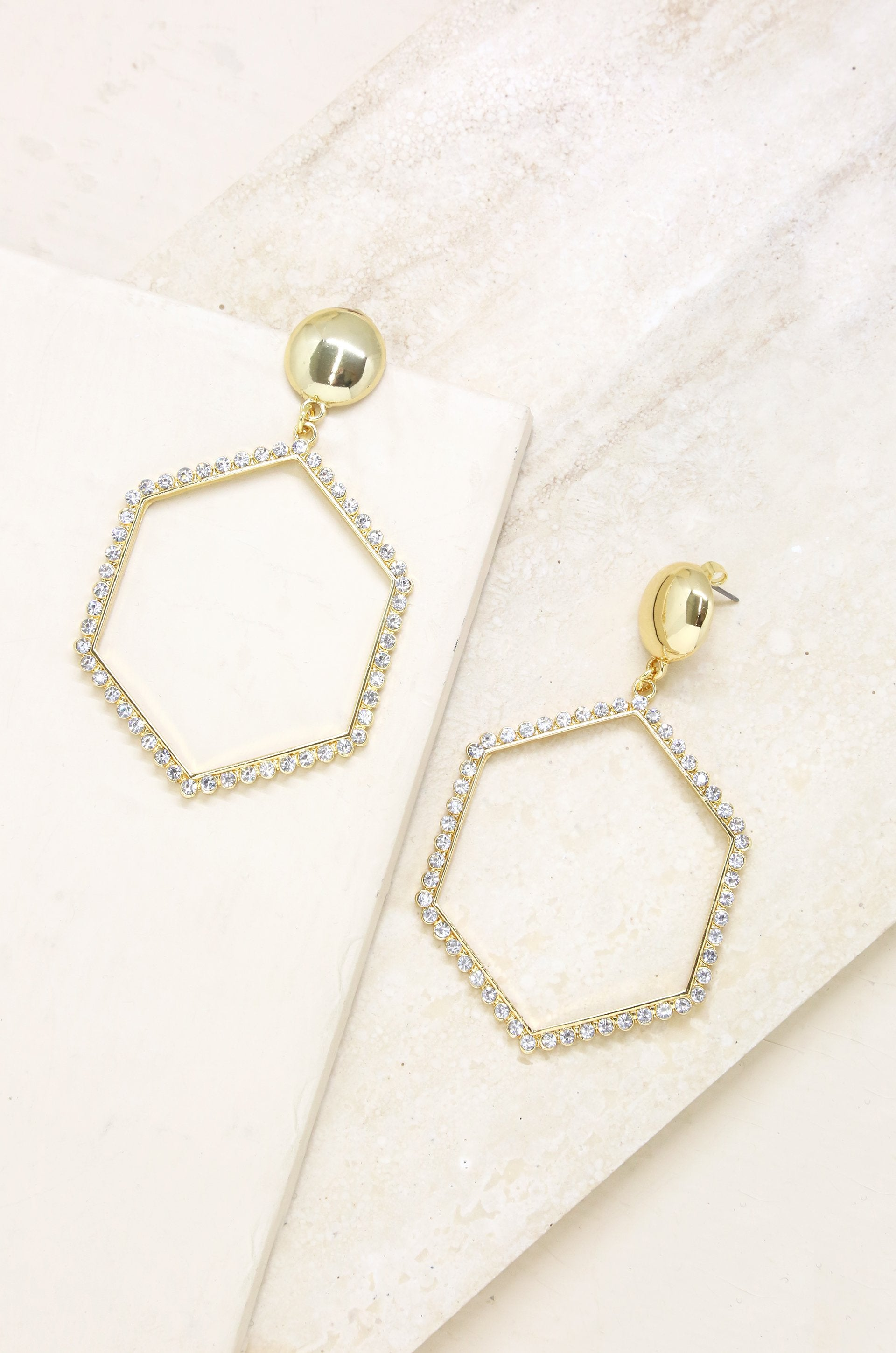 Crystal Hexagon 18k Gold Plated Drop Earrings - Vanessa Stylez Boutique