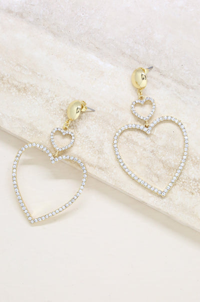 Double Heart Crystal Drop 18k Gold Plated Earrings - Vanessa Stylez Boutique