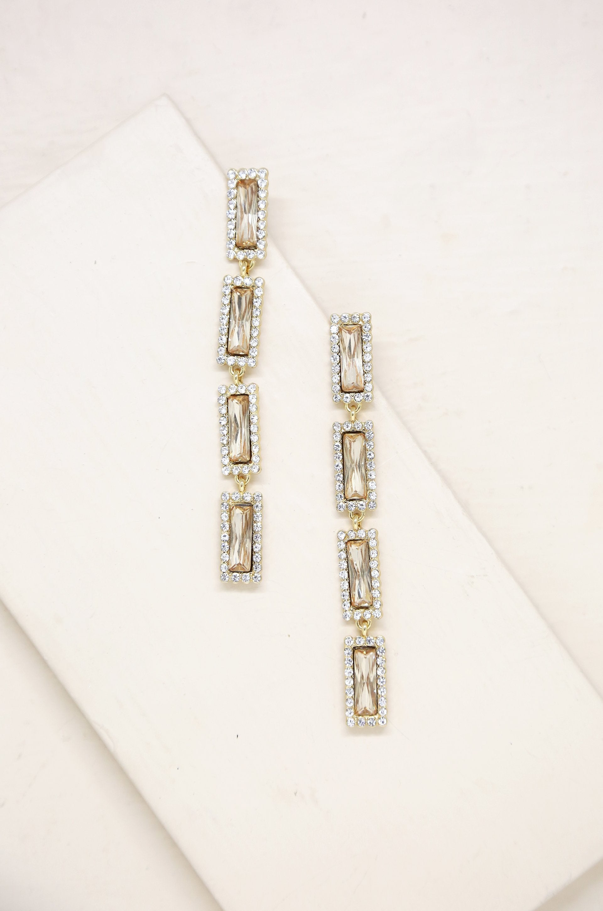 Topaz Gem Drop 18k Gold Plated Earrings - Vanessa Stylez Boutique
