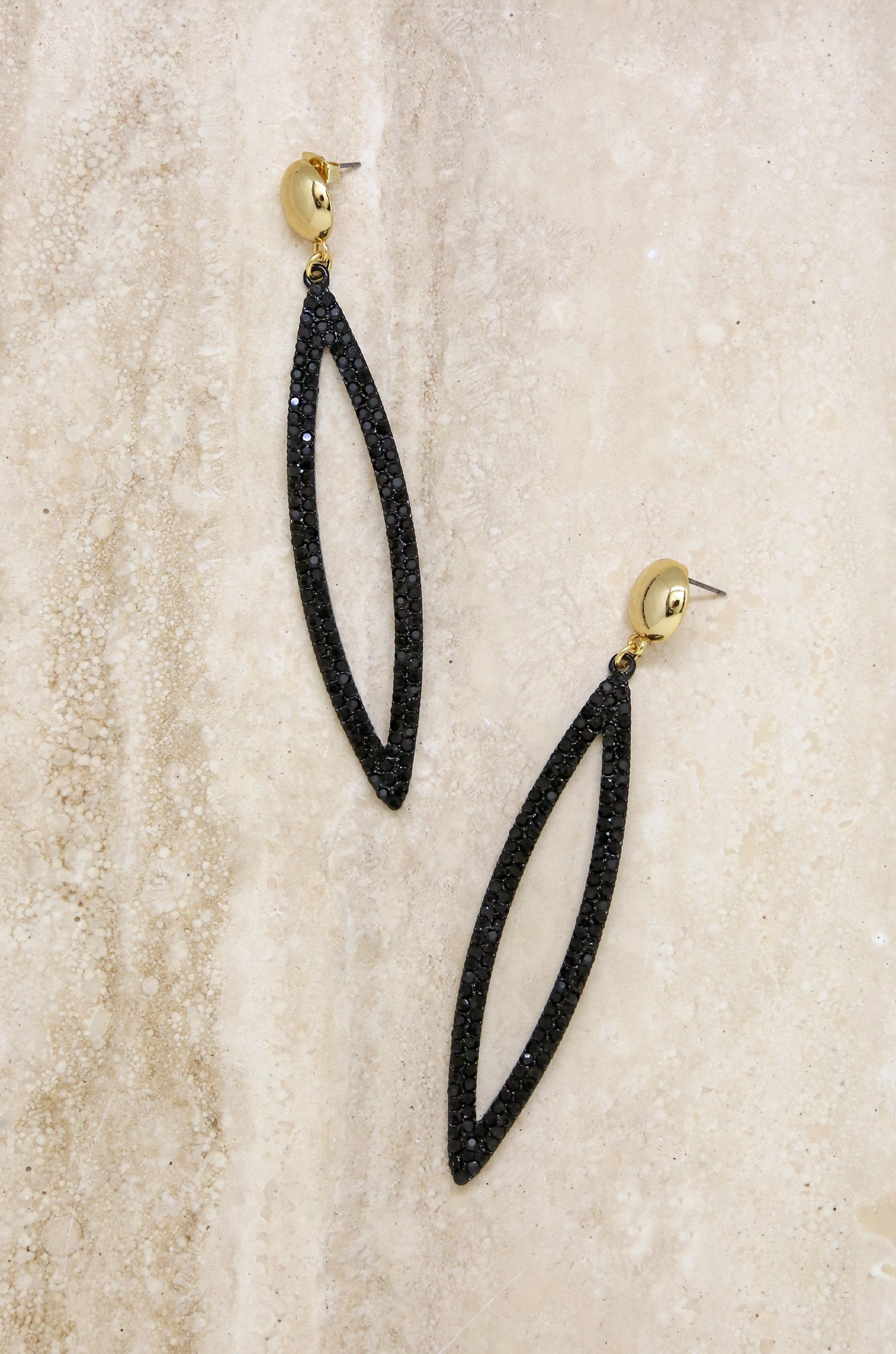 Black Crystal Oval Drop 18k Gold Plated Earrings - Vanessa Stylez Boutique