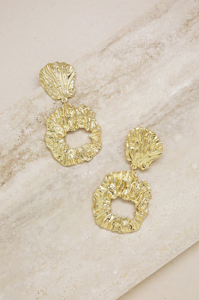 Gold Foil Abstract Earrings - Vanessa Stylez Boutique