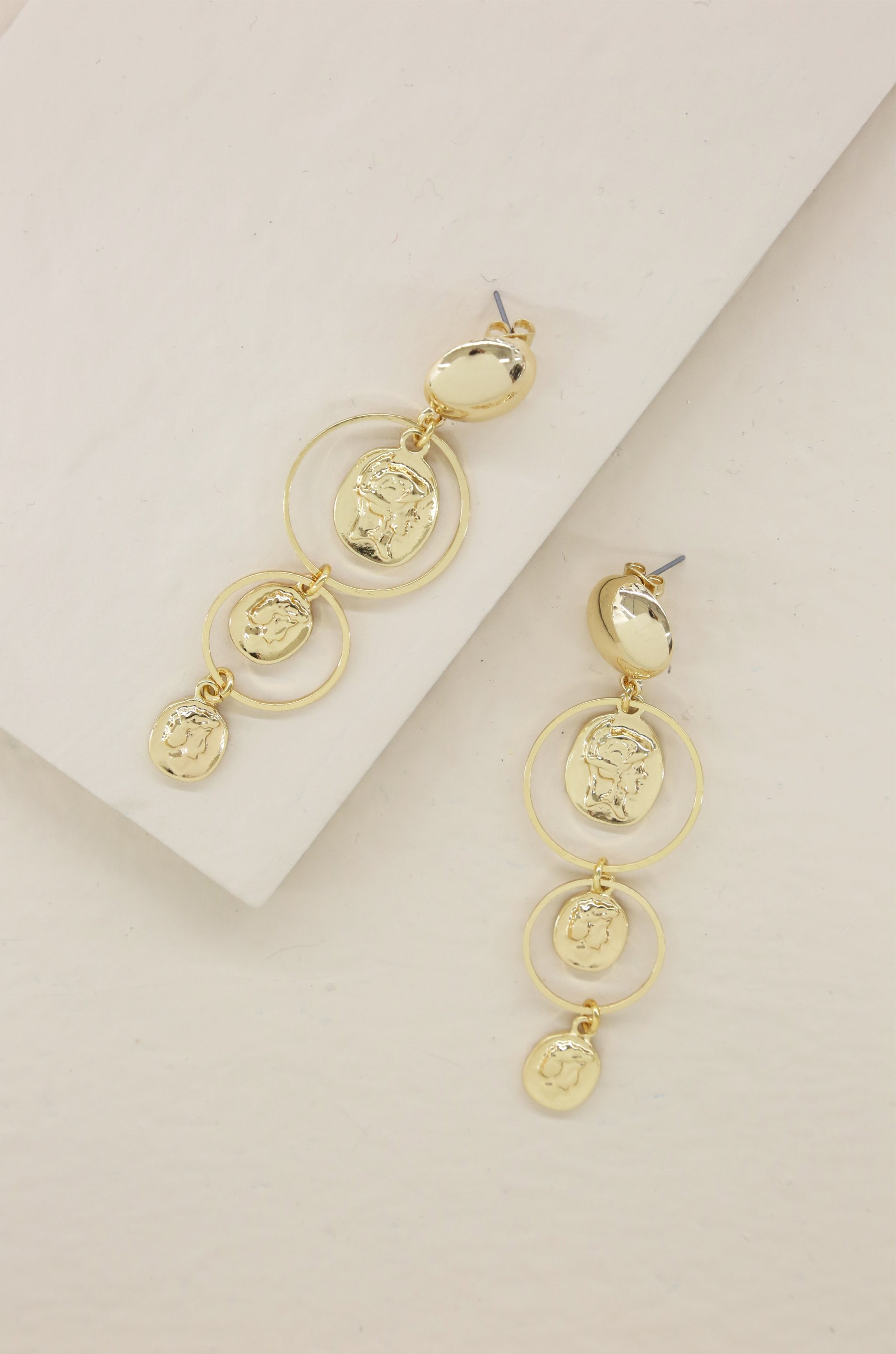 Gold Coins in Orbit Dangle 18k Gold Plated Earrings - Vanessa Stylez Boutique