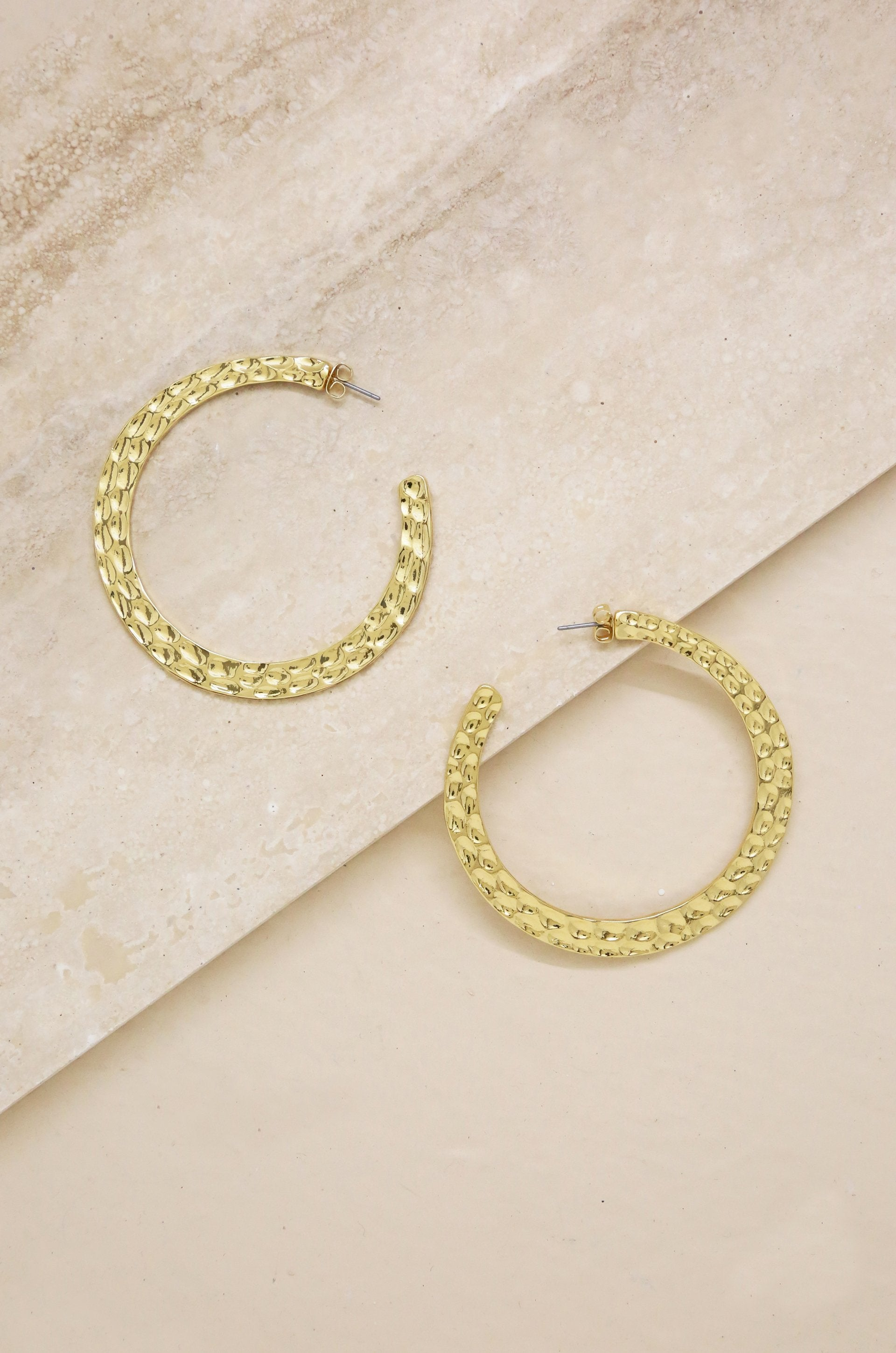 Hammered 18k Gold Plated Hoop Earrings - Vanessa Stylez Boutique