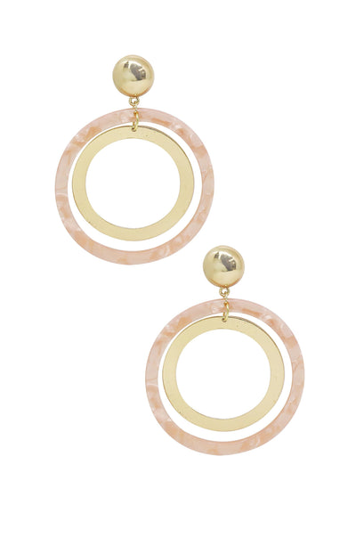 Large Pink Resin Circle & 18k Gold Plated Hoop Earrings - Vanessa Stylez Boutique