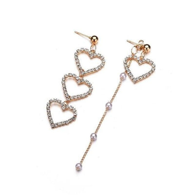 Fashion Crystal Love Heart Dangle Earrings Women - Vanessa Stylez Boutique