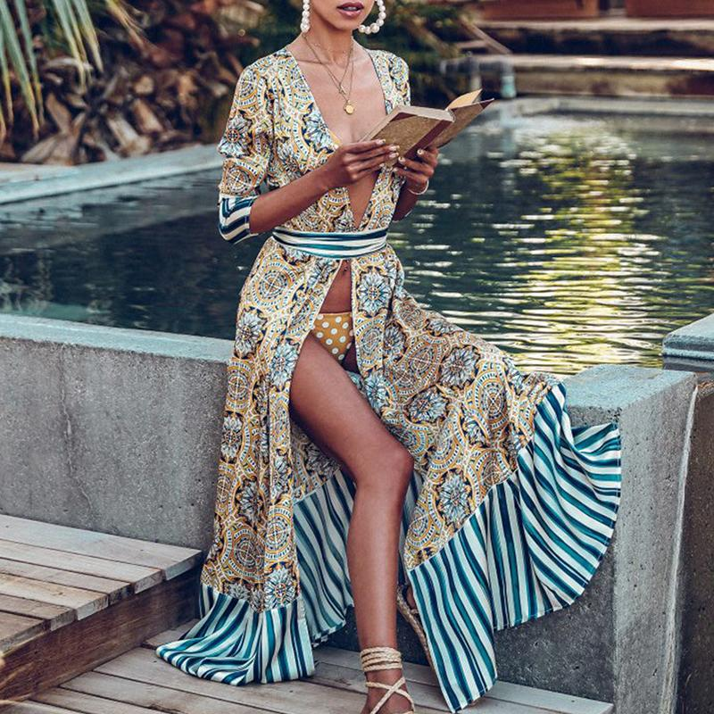 Sexy Cover Up Printed Long Beach Dress