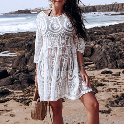 Sexy Transparent Mesh Beach Dress Women White Lace Swimsuit Cover Up