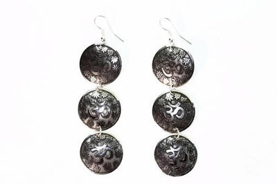 Three Tier Om Earrings with Lotus Petals - Vanessa Stylez Boutique