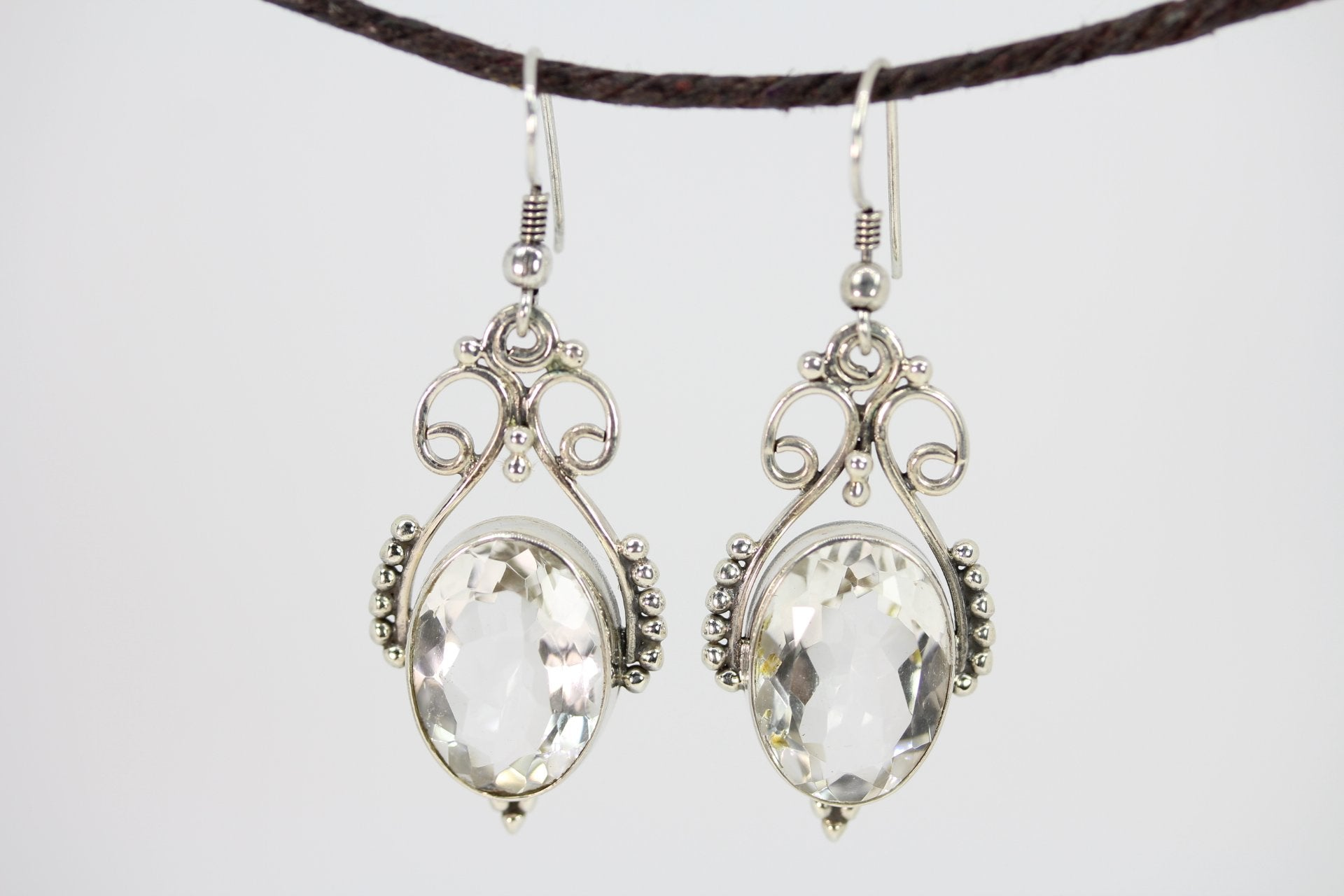 Open Work Clear Crystal Quartz Queenly Earrings - Vanessa Stylez Boutique
