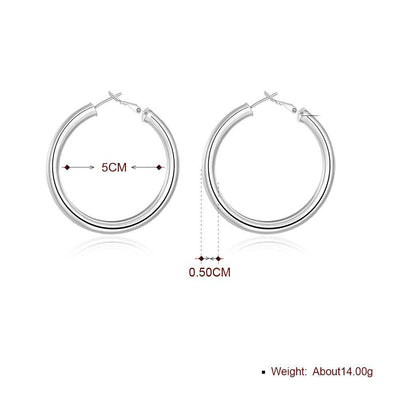 Round Tube Hoop Earring in 18K White Gold Plated - Vanessa Stylez Boutique
