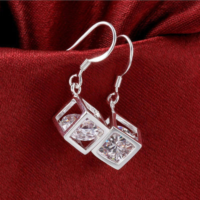 Swarovski Crystal Cube Drop Earring in 18K White Gold Plated - Vanessa Stylez Boutique