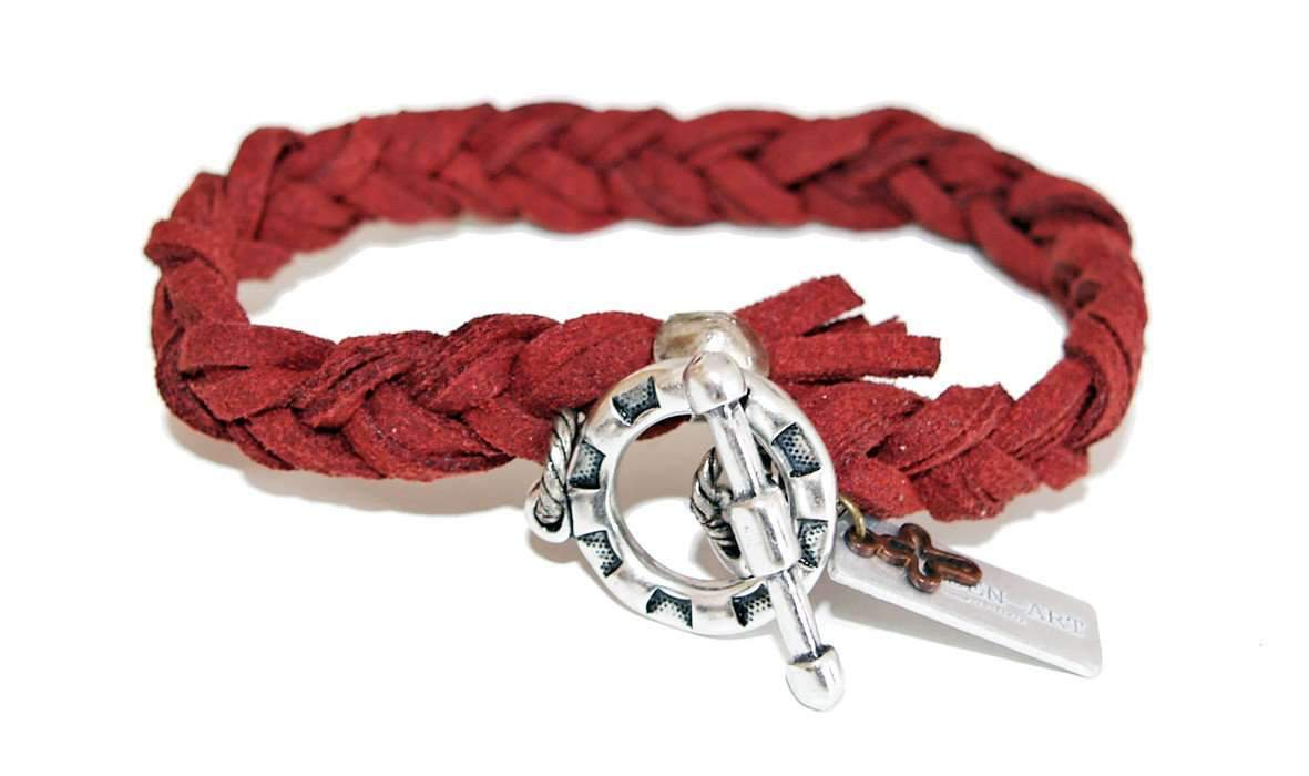 Men braided burgundy deerskin wrap bracelet - Vanessa Stylez Boutique