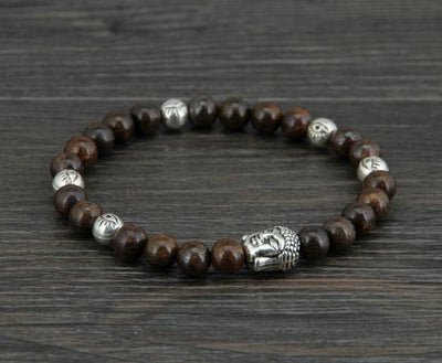 Men Bracelet 6MM Bronzite Buddha Evil Eye Elastic - Vanessa Stylez Boutique