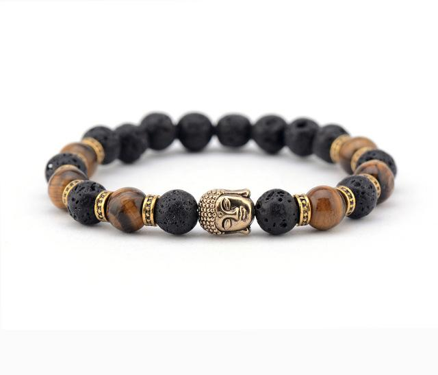 Men Bracelet Lava Stone Tiger Eyes with Buddha - Vanessa Stylez Boutique