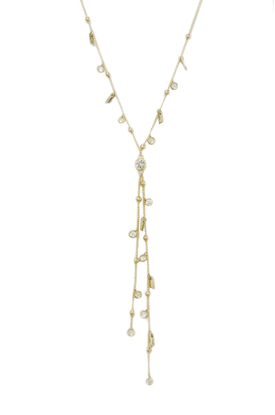 Late Night Lariat 18k Gold Plated Necklace with Crystals - Vanessa Stylez Boutique
