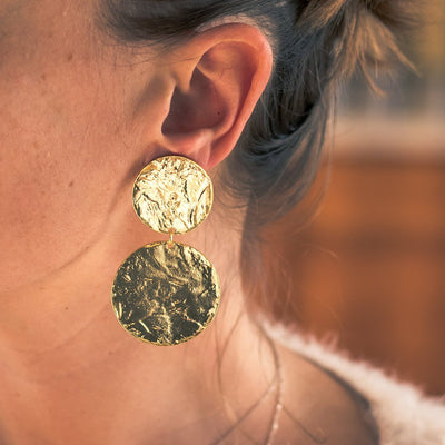 Double Discs Statement Earring - Vanessa Stylez Boutique