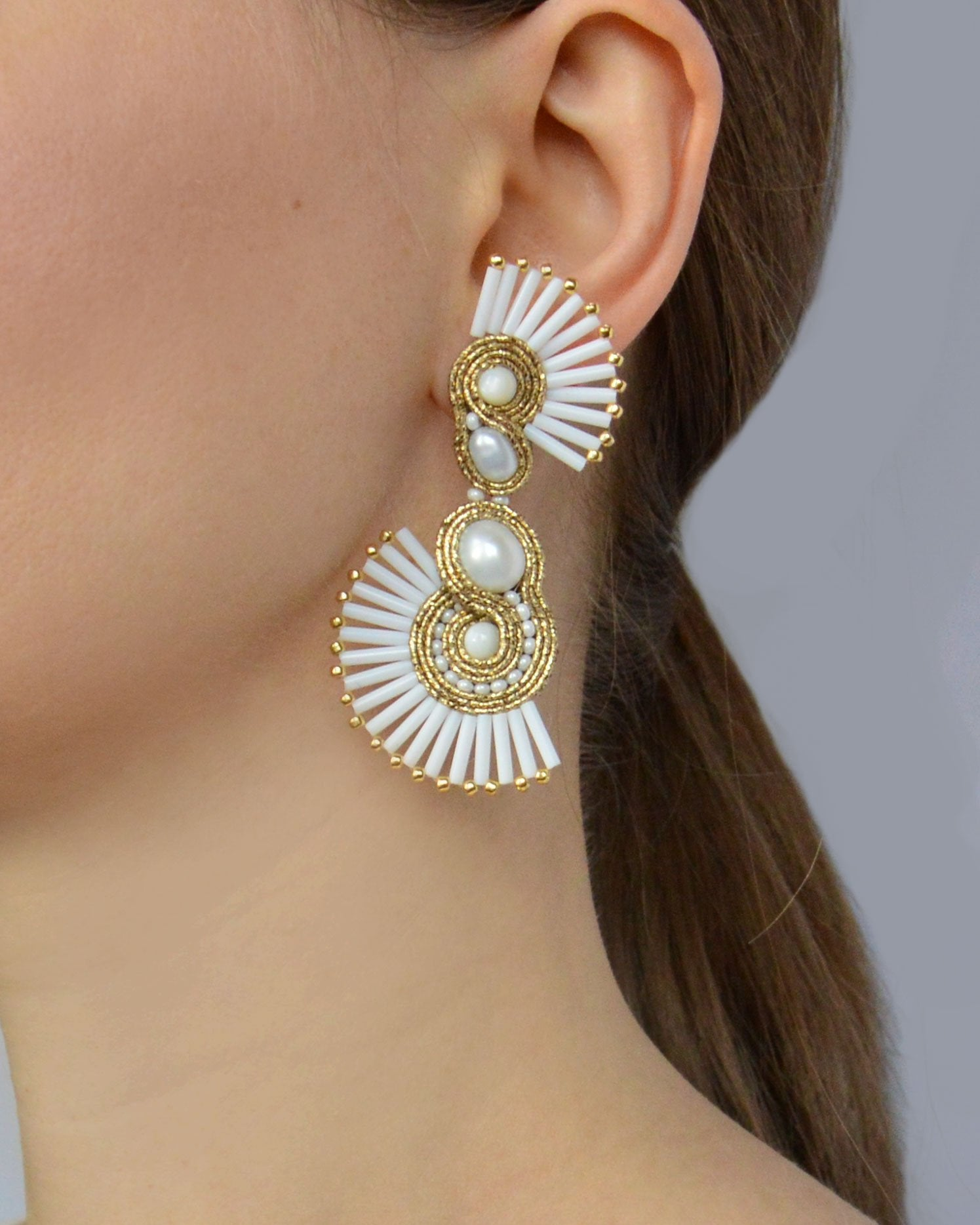 White and gold Asymmetric earrings - Vanessa Stylez Boutique