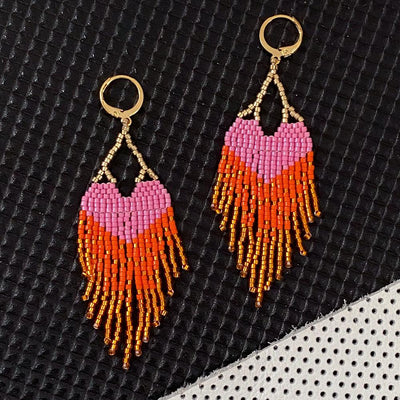 LOVE Earrings - Pink + Orange Ombre Fringe - Vanessa Stylez Boutique