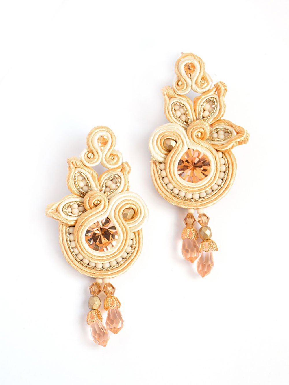 Floral drop earrings in beige colour - Vanessa Stylez Boutique