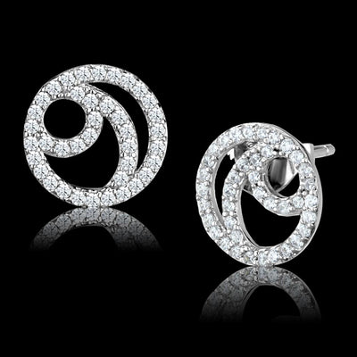 TS511 Rhodium 925 Sterling Silver Earrings - Vanessa Stylez Boutique