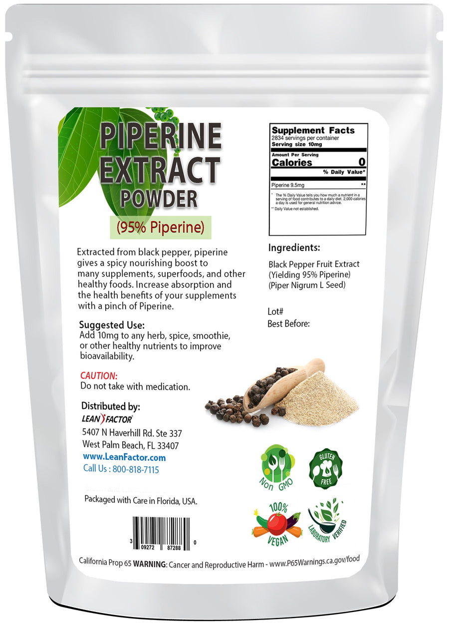 Piperine Powder (Black Pepper Extract) General Health Lean Factor