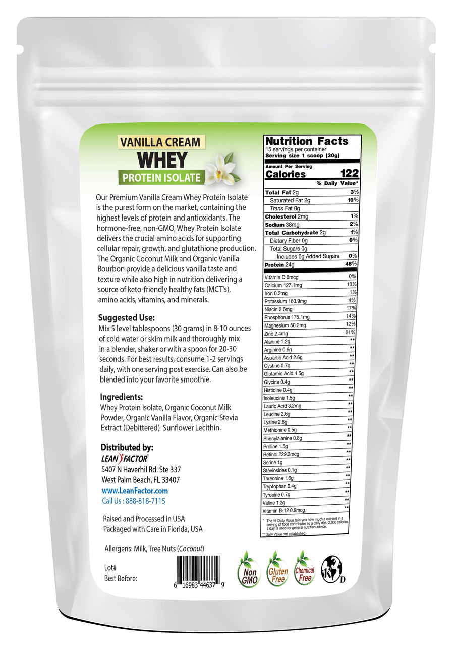 Vanilla Cream Whey Protein Isolate Protein Powders Lean Factor
