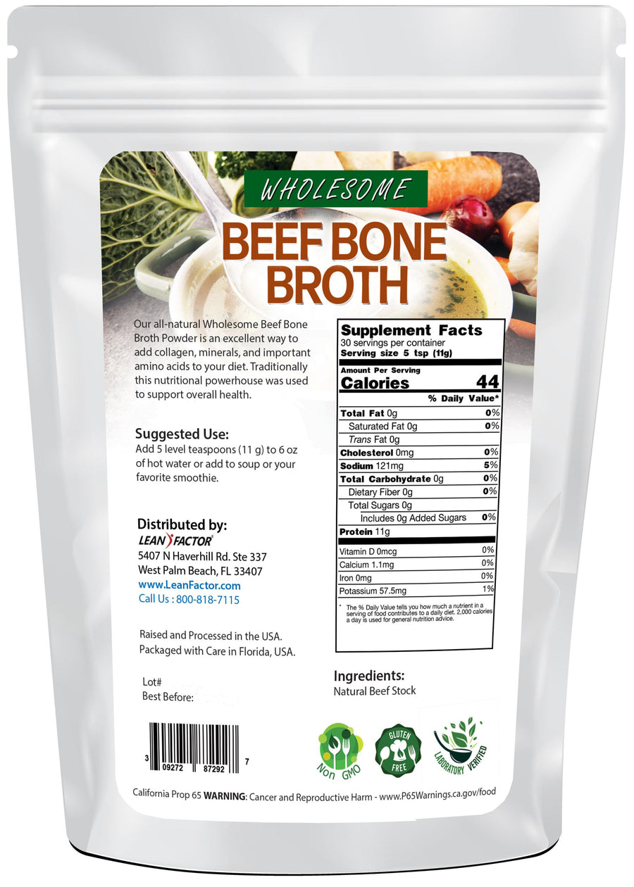Wholesome Beef Bone Broth Protein Powders Lean Factor
