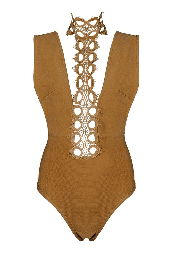 Hollow Out Bandage Bodysuit- Army Green