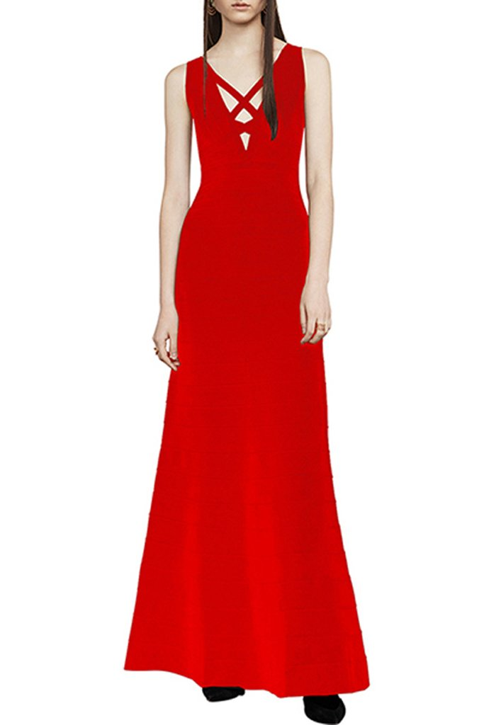 Melrose Cut Out Bandage Gown-Red