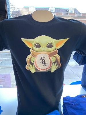 Baby Yoda Chicago White Sox Youth and Adult Tees and Vneck