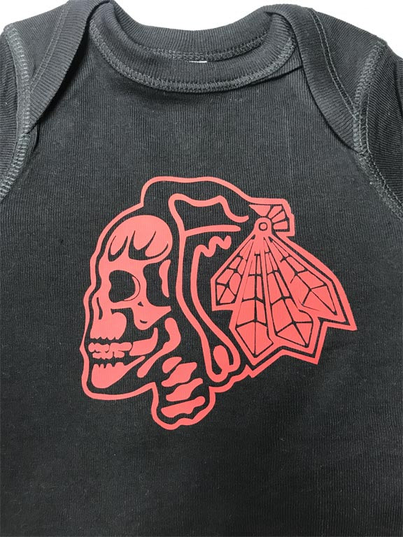 Chicago Blackhawk Skull Hockey Logo Onesie