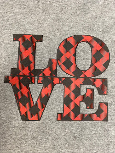 LOVE buffalo plaid design t-shirt