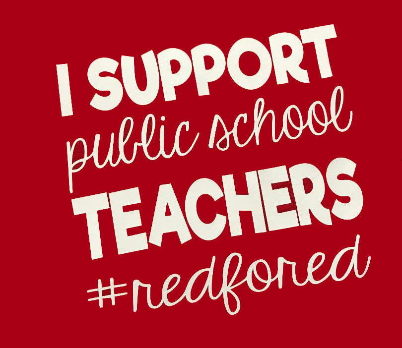 Red For Ed Teacher Supporter T-Shirt or Hoodie