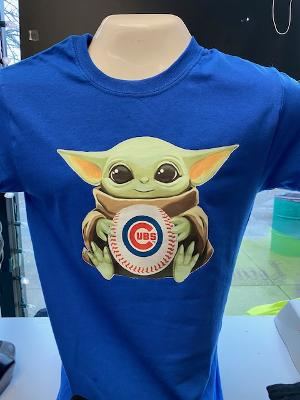 Baby Yoda Chicago Cubs Youth and Adult Tees and Vneck