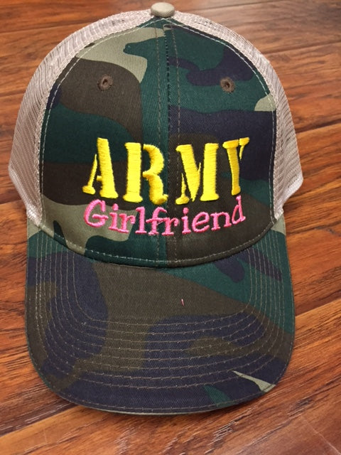 Army Girlfriend, Mom, Wife, Aunt Camo Trucker Style Hat