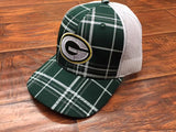 Green Bay Packers Plaid Trucker Style Hat