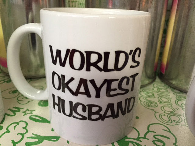 World's Okayest Husband coffee mug