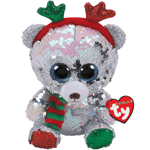 Mistletoe Reversible Sequin Bear With Antlers - Toy Centre