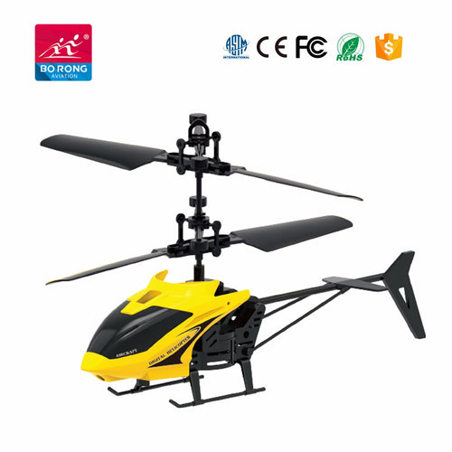 Hand sensor 2 channel mini flying helicopter - Yellow - Toy Centre
